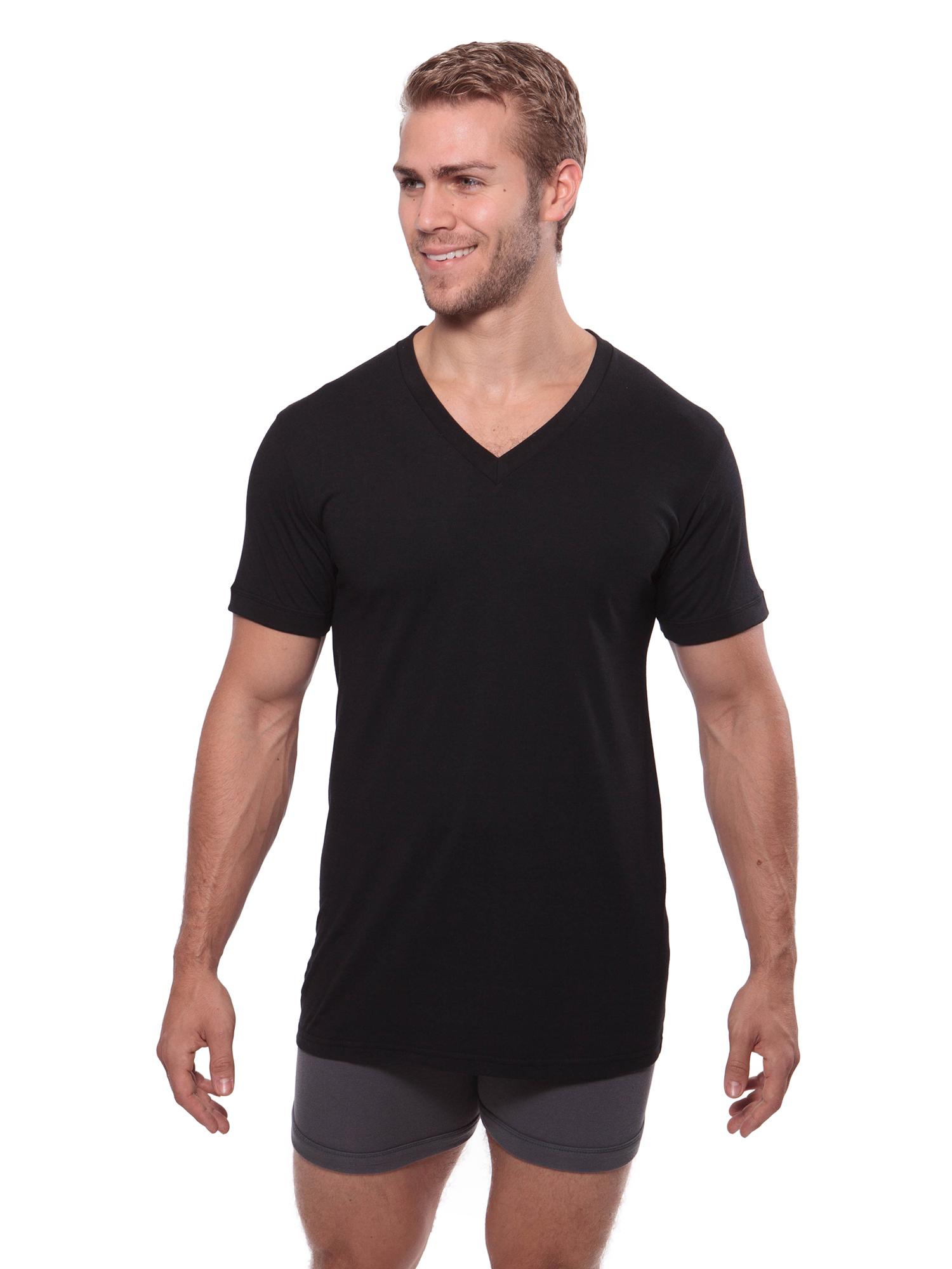 Meio, Black, LT Comfortable Shirt Texere Mens V-Neck 2 Pack Undershirt